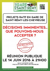 PROJETS RATP EN GARE DE SAINT REMY : Décisions imminentes... Que pouvons-nous accepter ??
